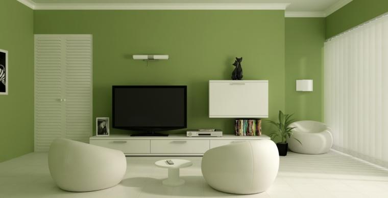 Soggiorni moderni componibili, soggiorno con parete di colore verde, mobile basso per la tv