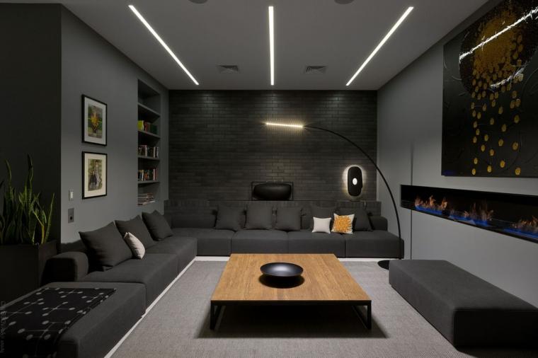 Esempi arredamento soggiorno, salotto con divano grigio angolare, salotto con tavolino basso da caffè