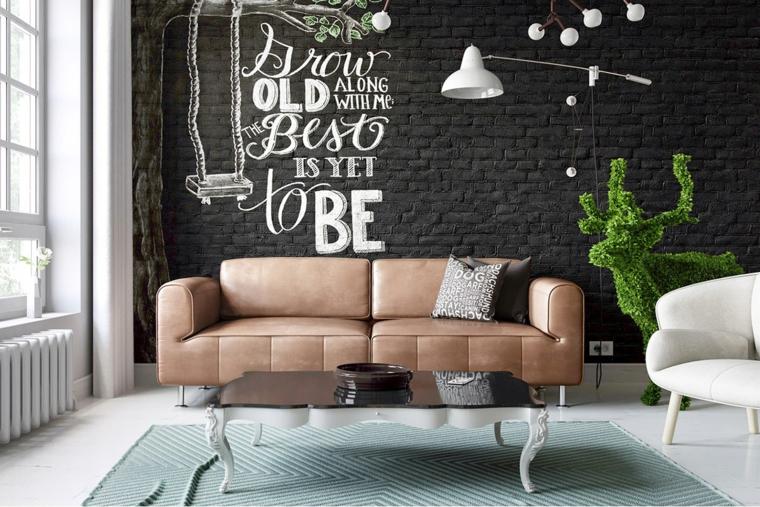 Soggiorni moderni componibili, divano due posti in velluto, parete nera in pietra con scritta