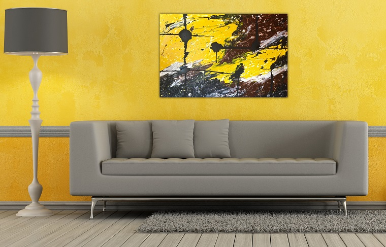 pareti colorate idea living giallo