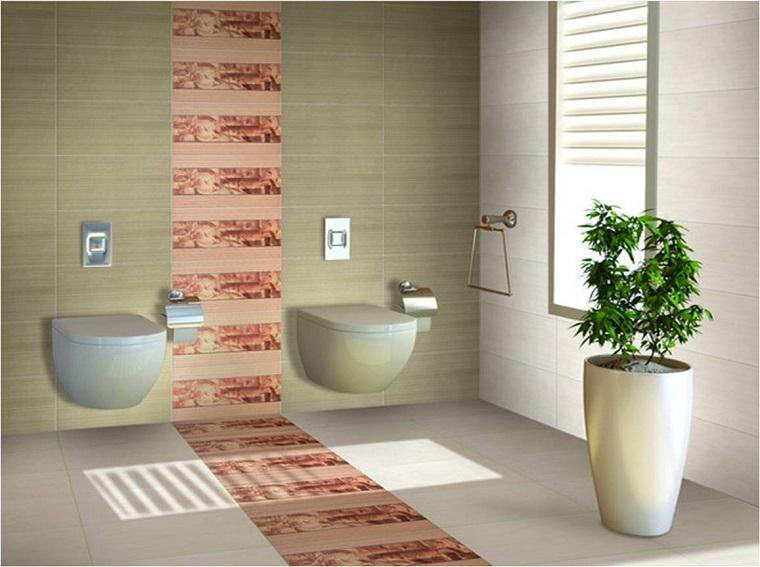 piastrelle bagno inserto colorato anche pavimento