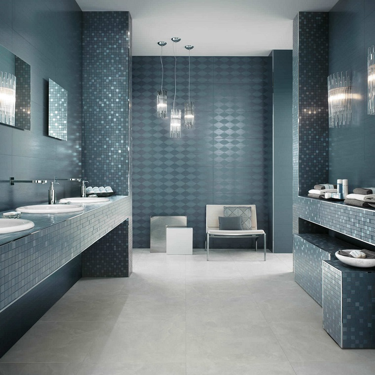 piastrelle bagno moderno nuance verde