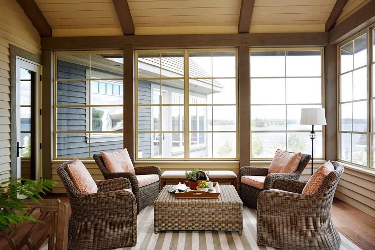 proposta veranda coperta arredata mobili rattan