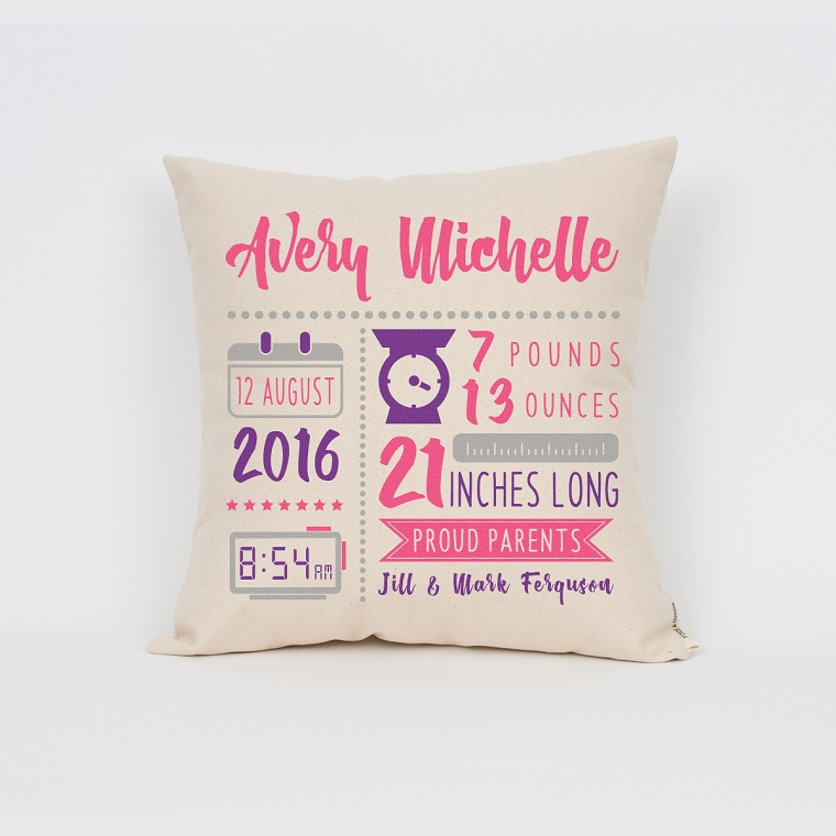 regalo nascita bimba cuscino personalizzato
