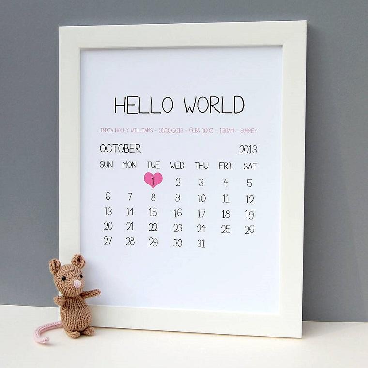 regalo nascita bimbo bimba cornice calendario