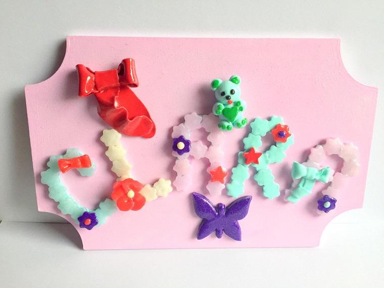 regalo nascita fai da te legno colore rosa