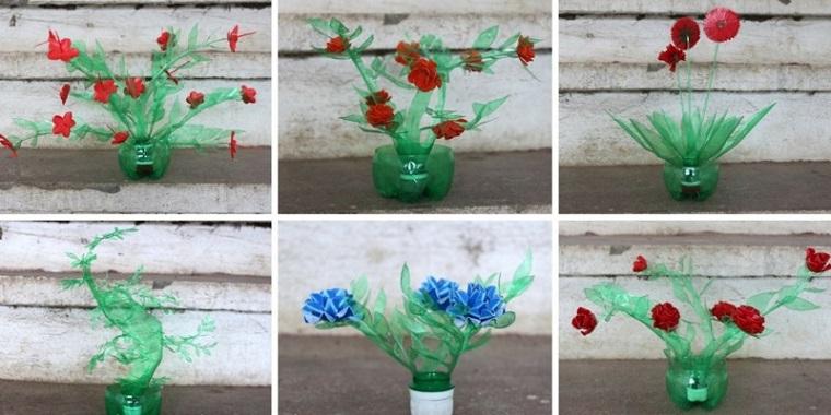 riciclare bottiglie di plastica suggerimento semplice particolare