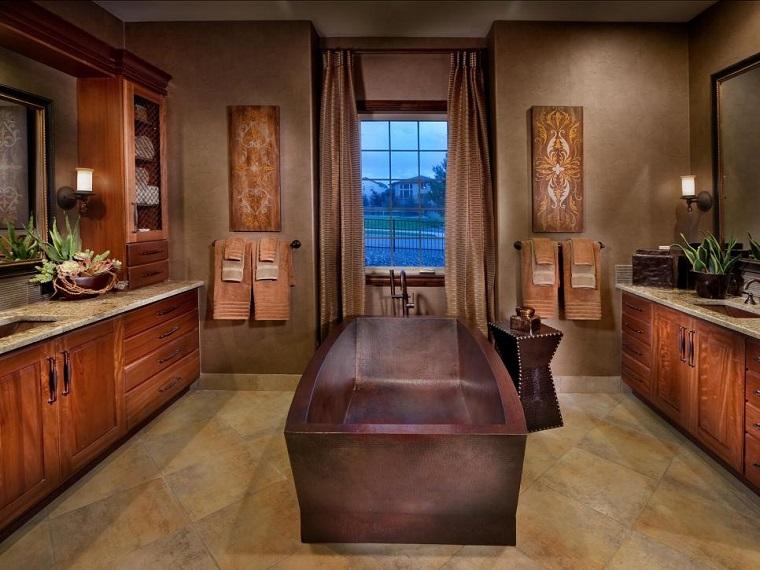 rivestimento bagno design rustico vasca rame