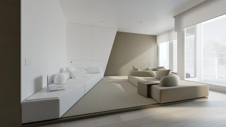 Soggiorno con soppalco basso, divano in tessuto di colore grigio, mobile basso bianco lucido