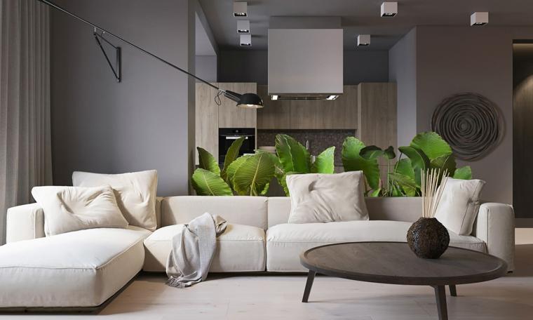 Come arredare sala e salotto insieme, soggiorno con cucina e divano angolare di colore bianco