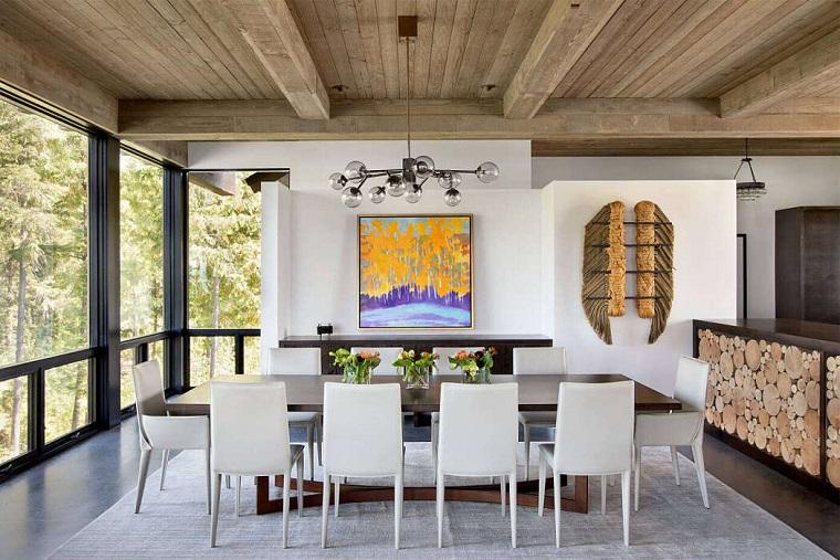 Soggiorni moderni componibili, sala da pranzo con tavolo di legno, decorazione parete con quadro