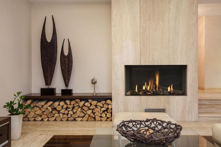 salotto con camino design legna