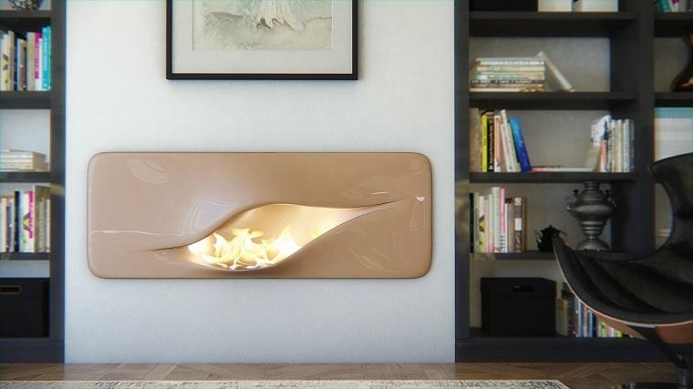 salotto con camino design moderno colore beige