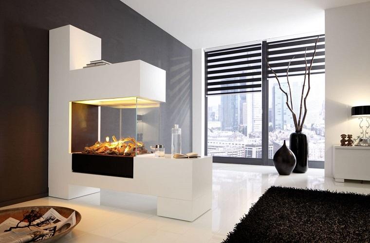 salotto con camino design moderno colore bianco