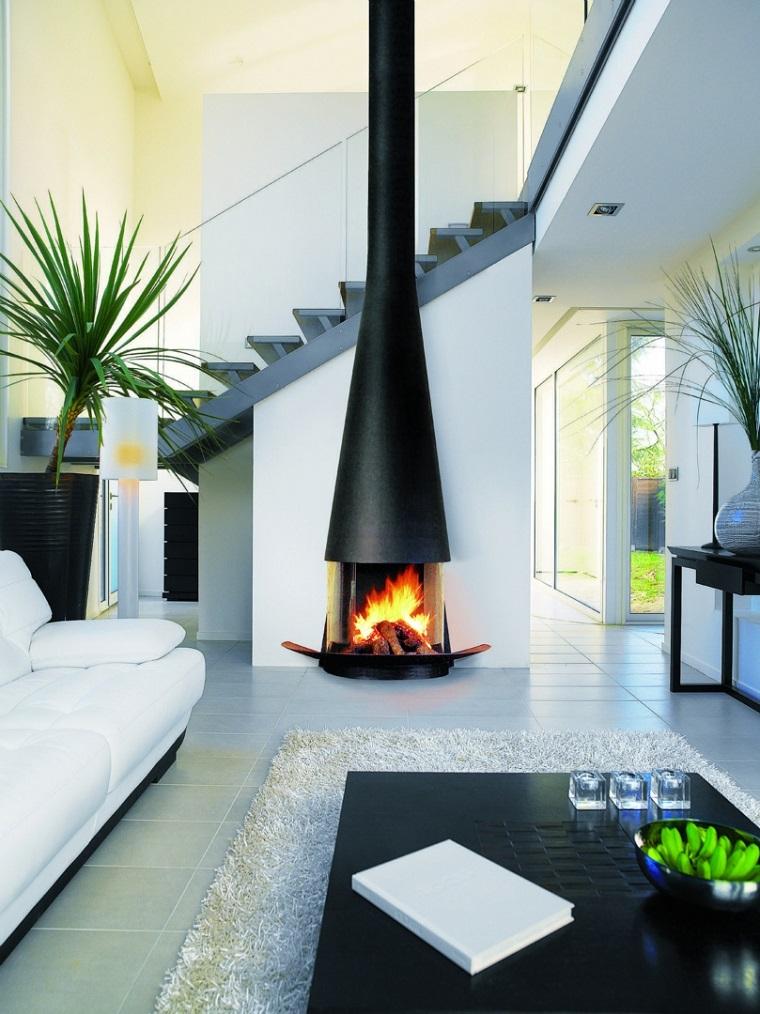 salotto con camino design moderno colore nero