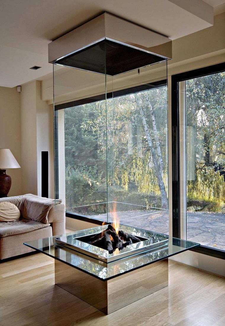 salotto con camino idea originale costruzione vetro