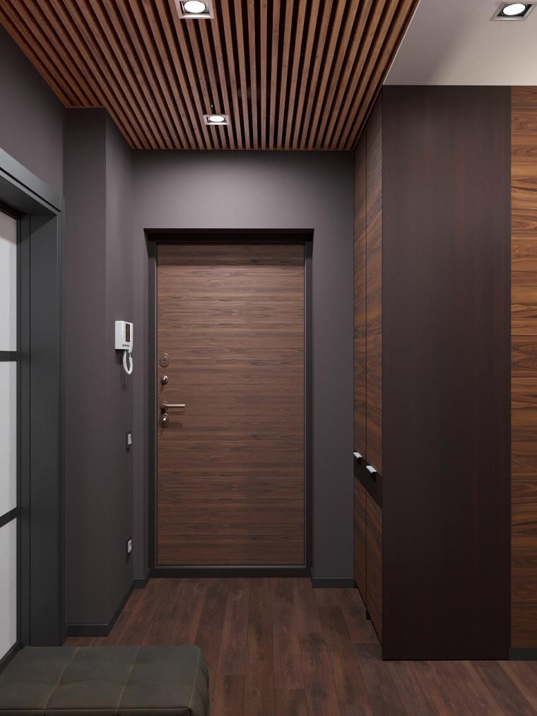scarpiera per corridoio stretto armadio a muro di legno pavimento ingresso parquet