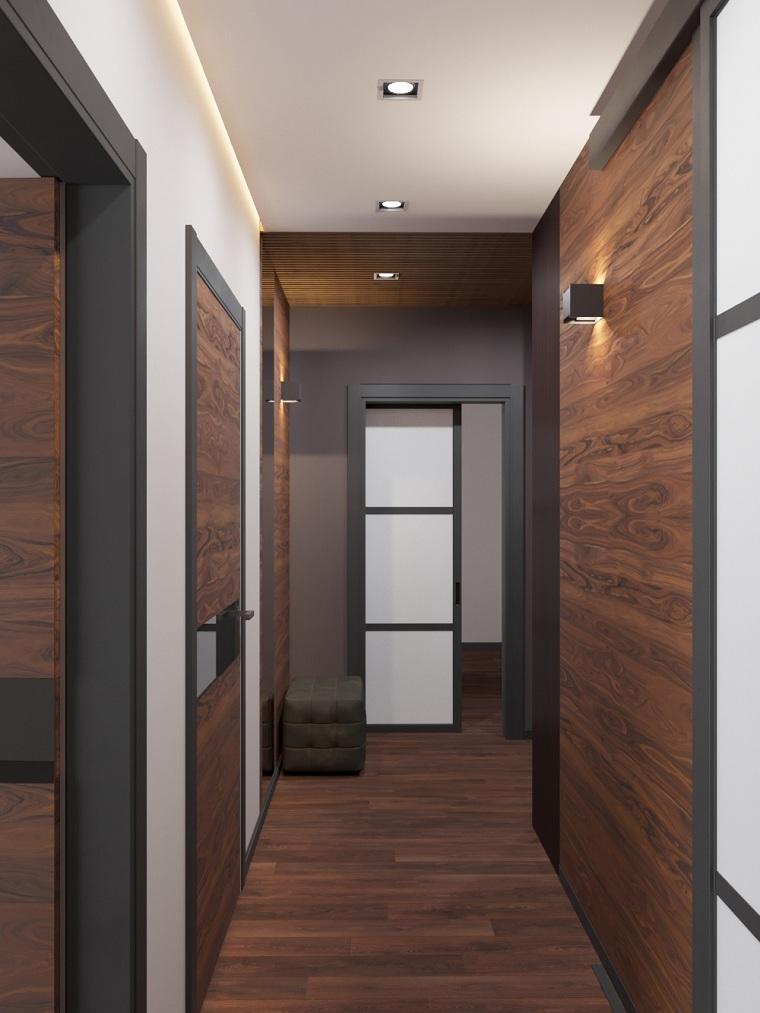 scarpiera per corridoio stretto di legno pavimento parquet scuro corridoio lungo