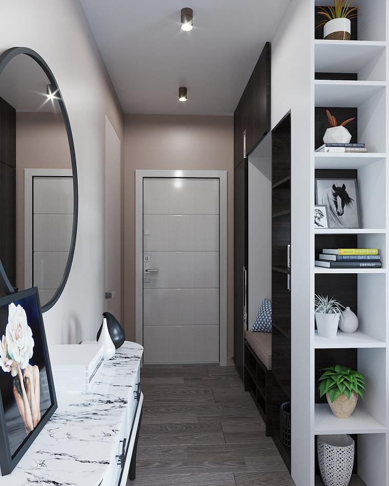 scarpiera per corridoio stretto mensole a vista con decorazione panchina e specchio rotondo