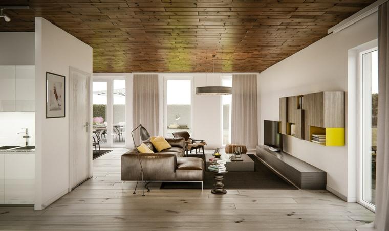 Parete attrezzata moderna, salotto con divano in pelle, soggiorno con pavimento in legno