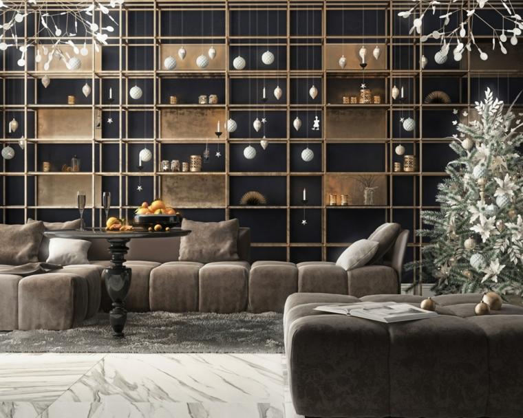 Salotto con parete attrezzata, soggiorno con divano in tessuto, pavimento con tappeto