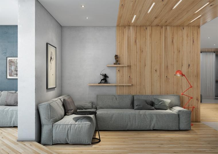 Esempi arredamento soggiorno, salotto con divano angolare, parete con pannelli di legno