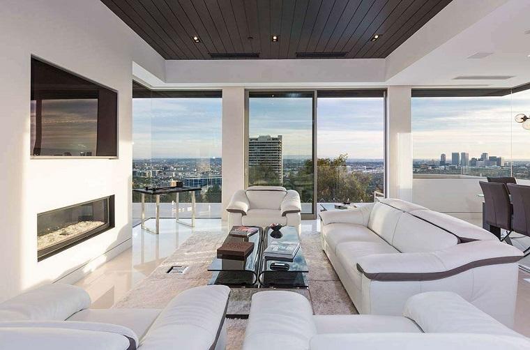 soggiorni moderni design avanguardia divani bianchi