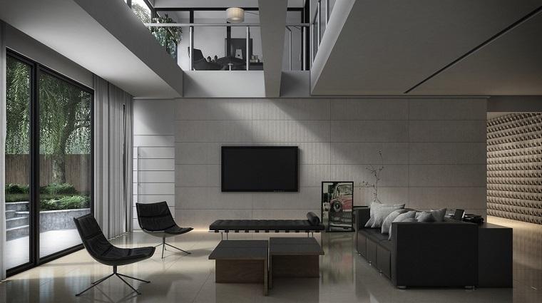 soggiorni moderni divani poltrone neri