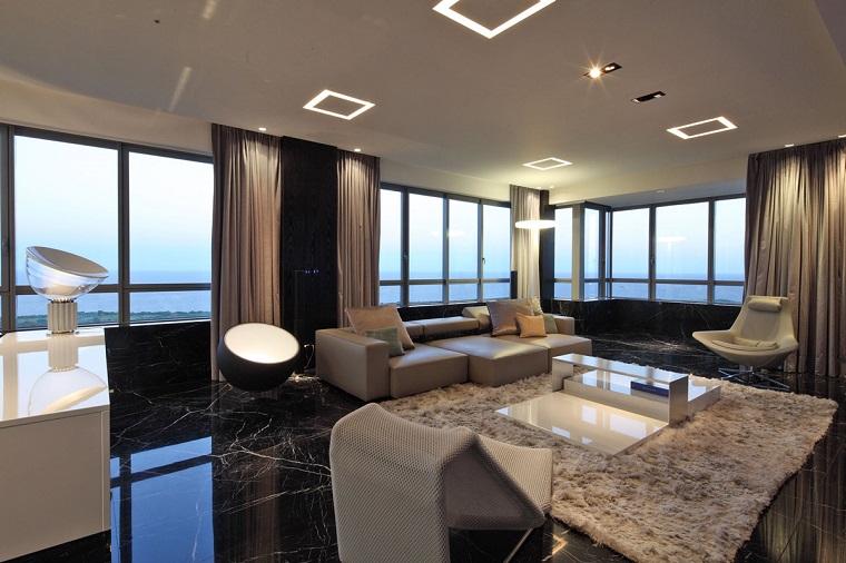 soggiorni moderni proposta pavimento marmo nero