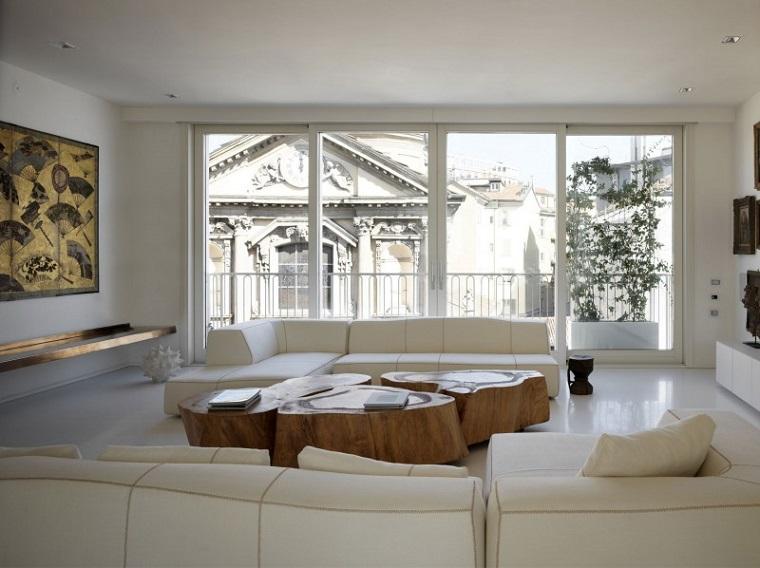soggiorno arredato mobili bianchi stile moderno