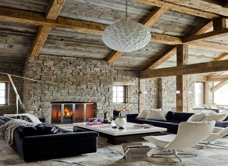 soggiorno arredato stile classico camino rustico