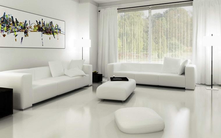soggiorno arredato stile minimal divani colore bianco