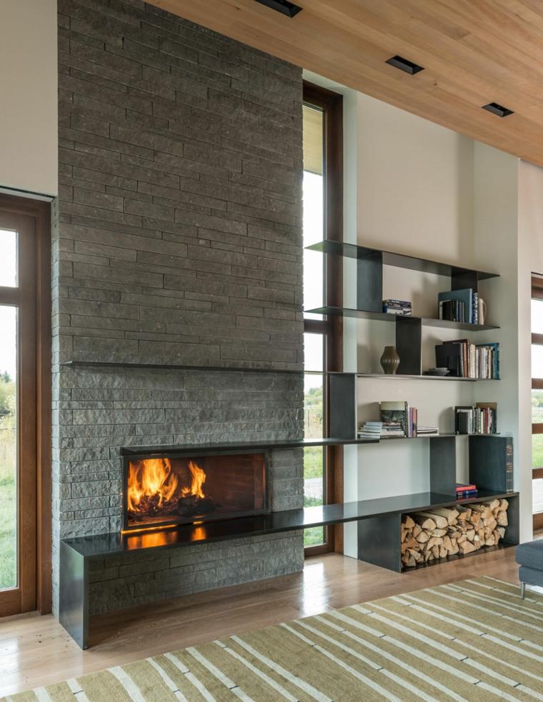 soggiorno con camino idea particolare design originale