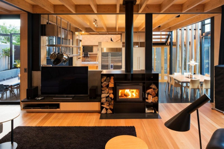 soggiorno con camino proposta particolare stile moderno