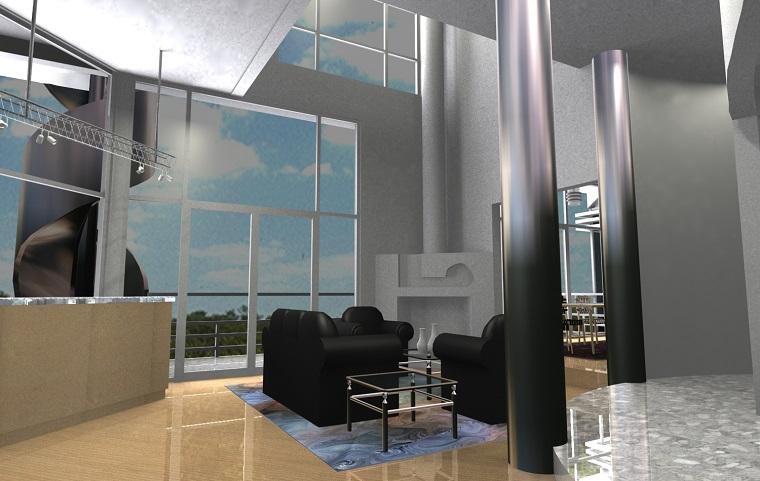soggiorno moderno avanguardia colonne acciaio