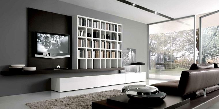 soggiorno moderno avanguardia libreria bianca