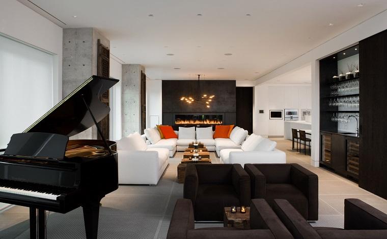 soggiorno moderno design avanguardia piano camino