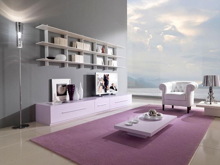 soggiorno moderno design minimal tappeto viola