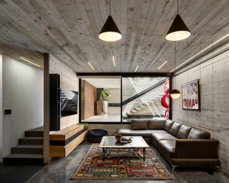 Saloni moderni, soggiorno con divano di pelle, salotto con soffitto di legno