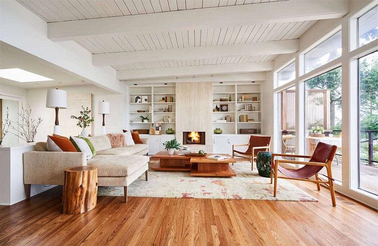Saloni moderni, soggiorno con tavolino di legno, divano angolare di tessuto