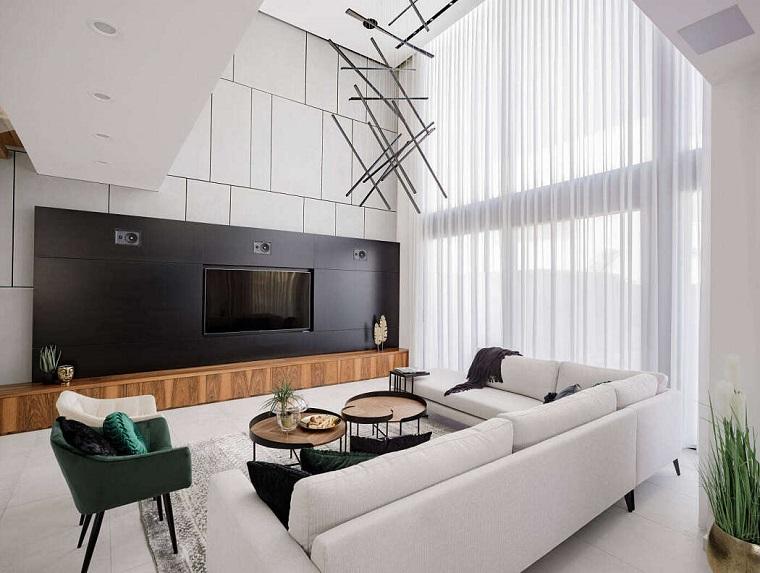 Parete attrezzata moderna, soggiorno con divano grigio angolare, parete con tv