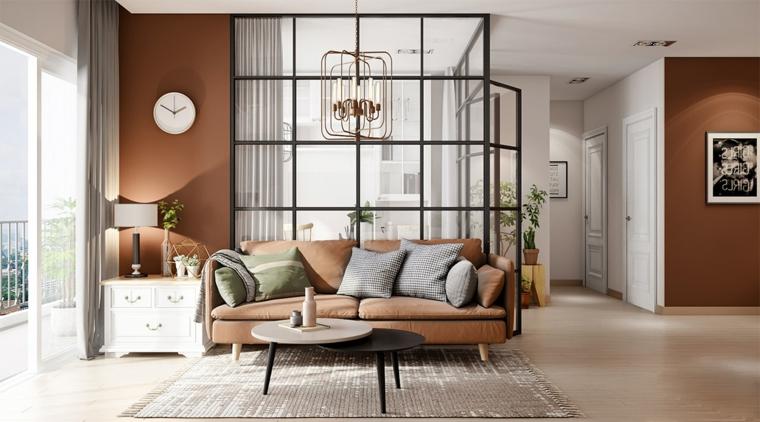 Salotto con parete divisoria, soggiorno con divano in tessuto, pavimento in legno parquet