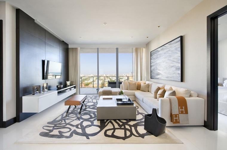 soggiorno moderno mobili avanguardia tappeto design