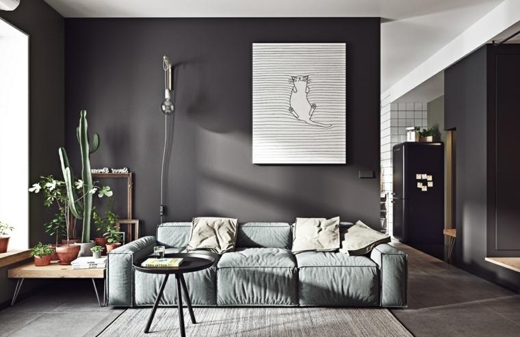 Come arredare sala e salotto insieme, soggiorno con divano in tessuto, due tavolini bassi