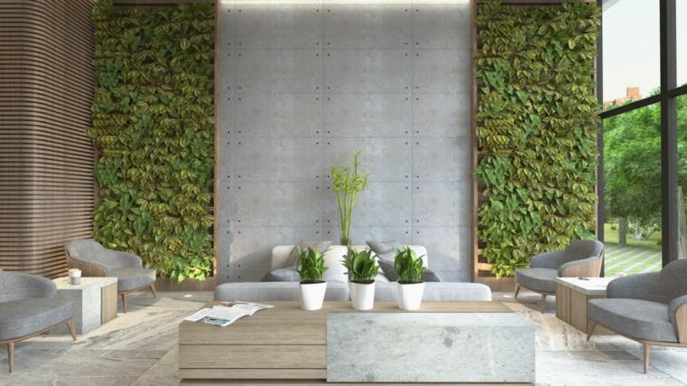 Parete attrezzata moderna, soggiorno con giardino verticale sulle pareti, tavolino basso di legno