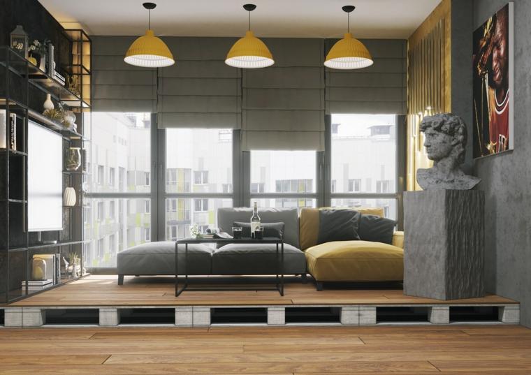 Soggiorno moderno, living con soppalco di pallet, divano bicolore angolare