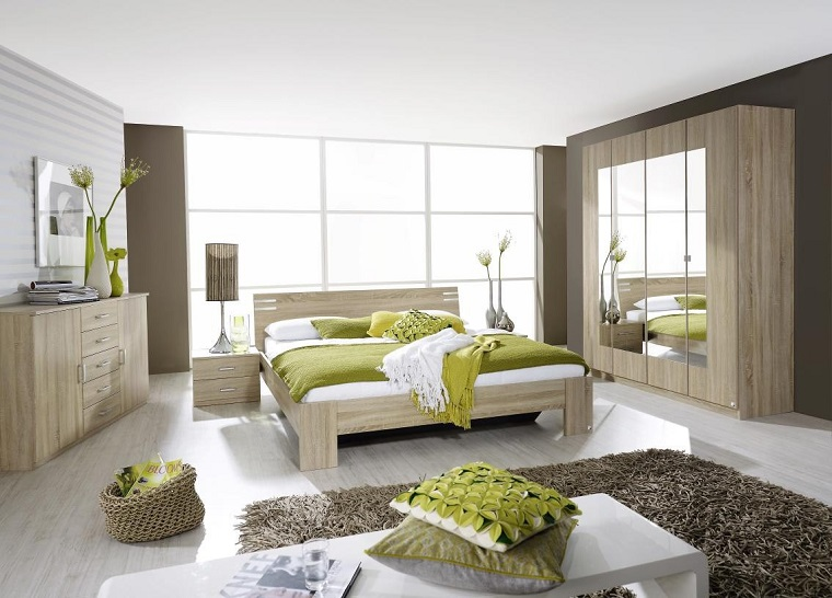 stanze da letto moderne mobili legno chiaro