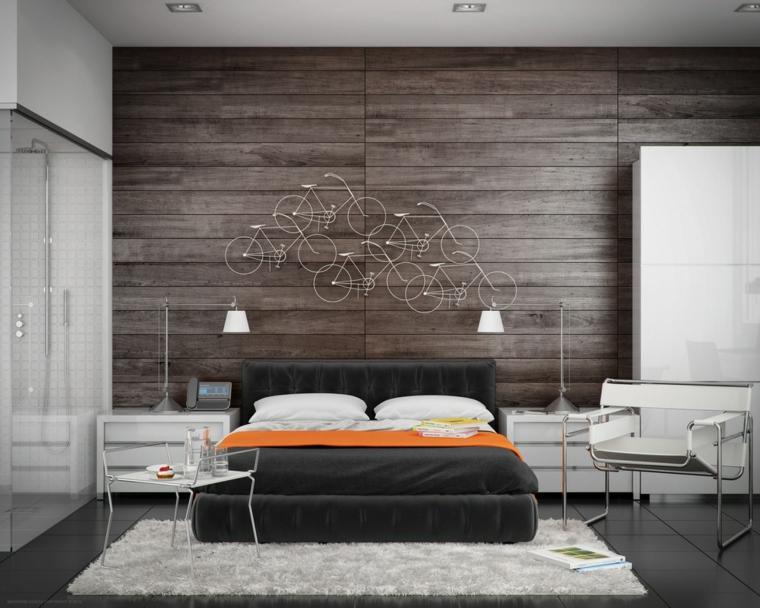 stanze da letto moderne parete legno decorazioni originali