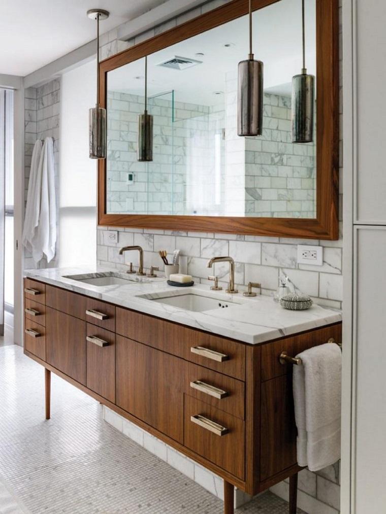 stile classico vanity bagno legno top marmo