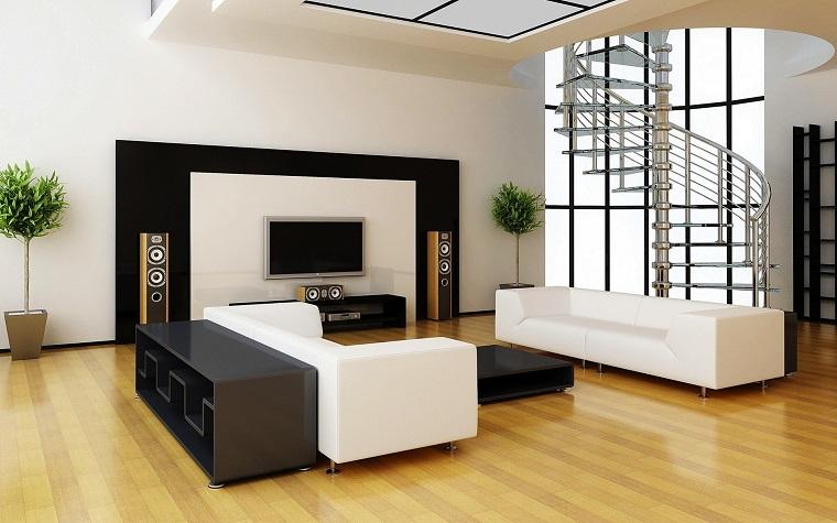 stile contemporaneo soggiorno arredato mobili colore bianco